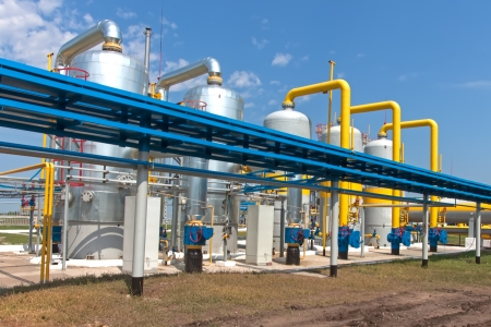 gas pipe: Gas compressor station in Ukraine in bright sunny summer day
