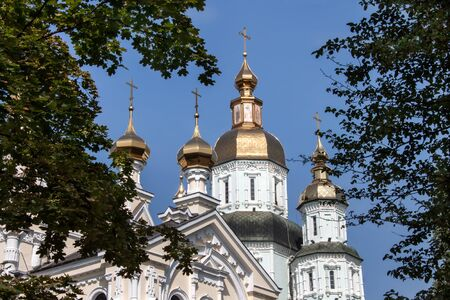 kharkov: Complex of buildings St  Intercession orthodox Monastery in Kharkiv, Ukraine, in a summer day Stock Photo