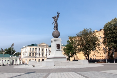 kharkov: Monument in honor of the Independence of Ukraine in sunny summer day at Constitution square in Kharkiv, Ukraine