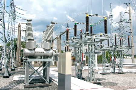 High voltage electric power substation in summer day photo
