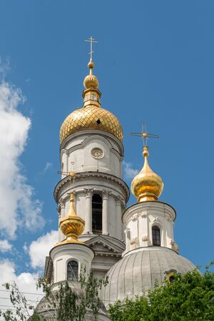 assumption: The bell tower of the Assumption Cathedral (1844) in sunny day in Kharkiv, Ukraine