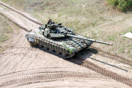 Kharkiv, Ukraine - August 12, 2016: Main battle tank at a firing range Editorial