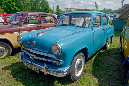 Kharkiv, Ukraine - May 22, 2016: Soviet retro car blue Moskvich 407 manufactured in 1958 exhibited at the festival of vintage cars Kharkiv Retro Rally - 2016 in Kharkiv, Ukraine on May 22, 2016
