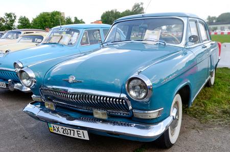 Kharkiv, Ukraine - May 22, 2016: Soviet retro car blue sedan GAZ M21 Volga Third Series manufactured in 1962 is presented at the festival of vintage cars Kharkiv Retro Rally - 2016 in Kharkiv, Ukraine on May 22, 2016 Editorial