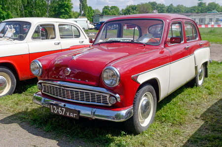Kharkiv, Ukraine - May 22, 2016: Soviet retro car Moskvich 407 manufactured in 1962 exhibited at the festival of vintage cars Kharkiv Retro Rally - 2016 in Kharkiv, Ukraine on May 22, 2016