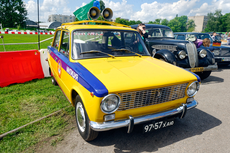 motor cop: Kharkiv, Ukraine - May 22, 2016: Soviet retro police car VAZ-2101 manufactured between 1970 and 1988 is presented at the festival of vintage cars Kharkiv Retro Rally - 2016 in Kharkiv, Ukraine on May 22, 2016