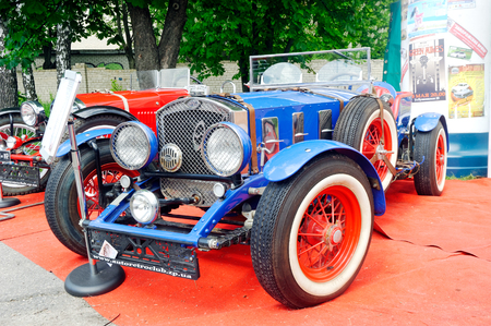 Kharkiv, Ukraine - May 22, 2016: Retro car blue Ford manufactured between 1935 and 1939 is presented at the festival of vintage cars Kharkiv Retro Rally - 2016 in Kharkiv, Ukraine on May 22, 2016
