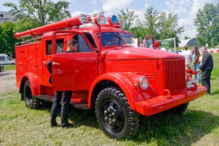Kharkiv, Ukraine - May 22, 2016: Soviet retro GAZ-21US vintage fire-engine vehicle manufactured in 1965 is presented at the festival of vintage cars Kharkiv Retro Rally - 2016 in Kharkiv, Ukraine on May 22, 2016
