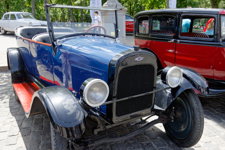 Kharkiv, Ukraine - May 28, 2017: Chevrolet retro car manufactured in 1921 exhibited at the festival of vintage cars Kharkiv Retro Rally - 2017 in Kharkiv, Ukraine on May 28, 2017 報道画像