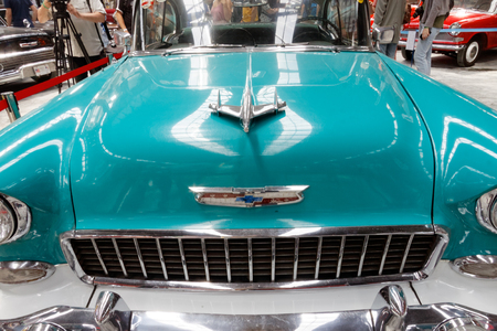 Kharkiv, Ukraine - May 19, 2018: Close up of retro car Chevrolet Bel Air manufactured in 1955 is presented at the festival of vintage cars Kharkiv Retro Rally - 2018 in Kharkiv, Ukraine on May 19, 2018 Editorial