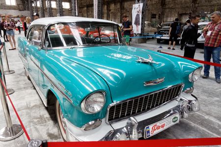 Kharkiv, Ukraine - May 19, 2018: Retro car Chevrolet Bel Air manufactured in 1955 is presented at the festival of vintage cars Kharkiv Retro Rally - 2018 in Kharkiv, Ukraine on May 19, 2018 Editorial
