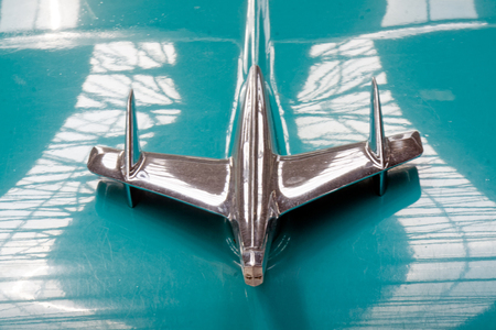 Kharkiv, Ukraine - May 19, 2018: Close up of the hood ornament of retro car Chevrolet Bel Air manufactured in 1955 is presented at the festival of vintage cars Kharkiv Retro Rally - 2018 in Kharkiv, Ukraine on May 19, 2018