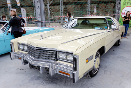Kharkiv, Ukraine - May 19, 2018: Retro car Cadillac Eldorado manufactured in 1978 is presented at the festival of vintage cars Kharkiv Retro Rally - 2018 in Kharkiv, Ukraine on May 19, 2018 Editorial