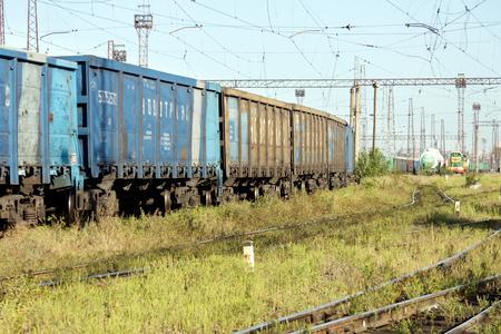 Kharkiv, Ukraine - August 23, 2018: Ð¡argo wagons parked at the railway station Osnova, in Kharkiv, Ukraine