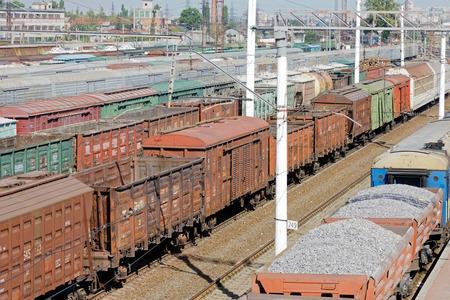 Kharkiv, Ukraine - August 23, 2018: Cargo wagons parked at the railway station Osnova, in Kharkiv, Ukraine