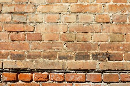 Old vintage red brick wall texture grunge background