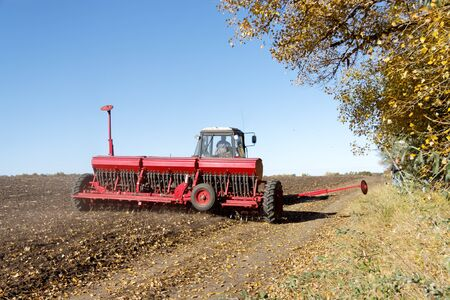Blue tractor with a red seeder works on the field on a bright sunny autumn day