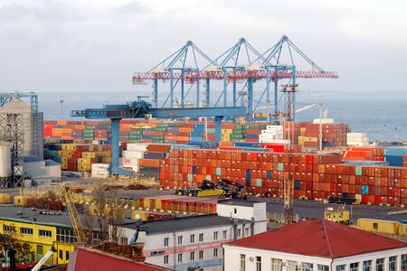 Sea port for loading and unloading ships in Odessa. Archivio Fotografico