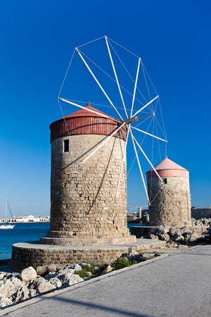 rhodes: Windmill in the harbour of Rhodes