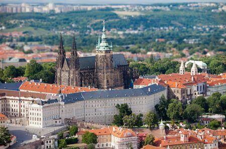 vitus: View of St Vitus cathedral from Petrjinska tower Stock Photo