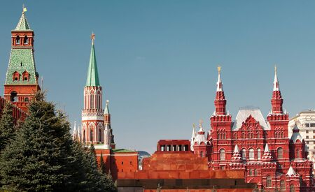 mausoleum: The Kremlin, the mausoleum and the historic museum - a part of ensamble of Red square in Moscow. Russia Editorial