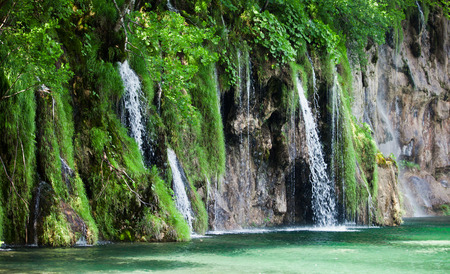 croatian: View of cascade in Croatian national park Plitvice Lakes