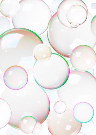jabon liquido: Burbujas de jab�n de colores naturales sobre fondo blanco. Foto de archivo