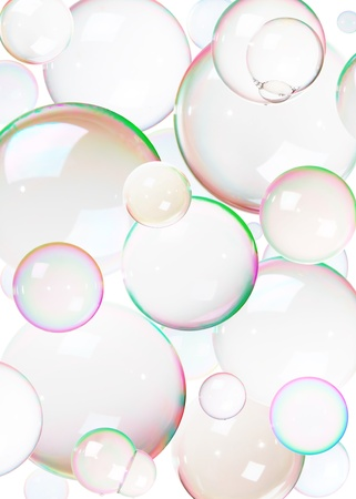 Colorful natural soap bubbles on white.