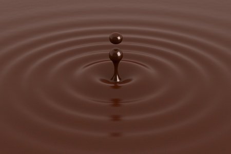 Chocolate drop with ripples, close-up view photo