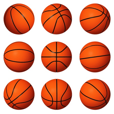 Different positions of basketballs isolated on white background. Stock Photo