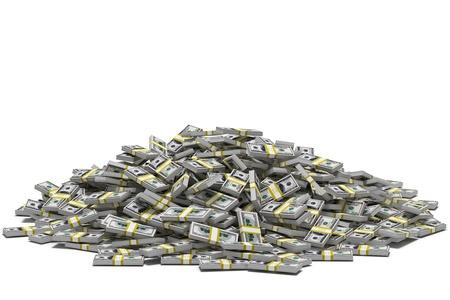 abundance money: Huge pile of hundred dollar bill stacks, isolated on white.