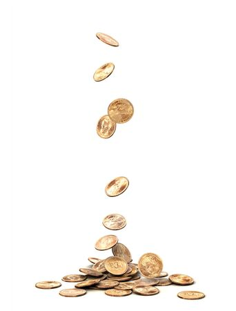 gold money: One dollar coins falling on white background.
