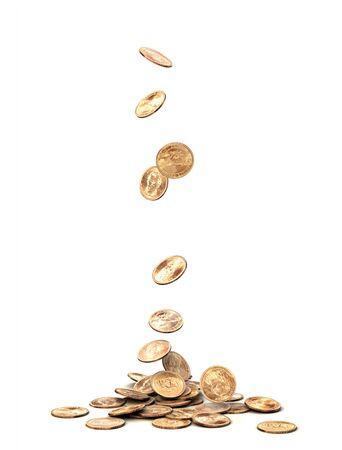 money symbol: One dollar coins falling on white background.