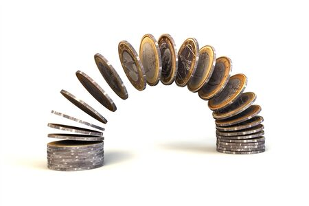 commercial activity: One euro coins falling in stack, isolated on white background.