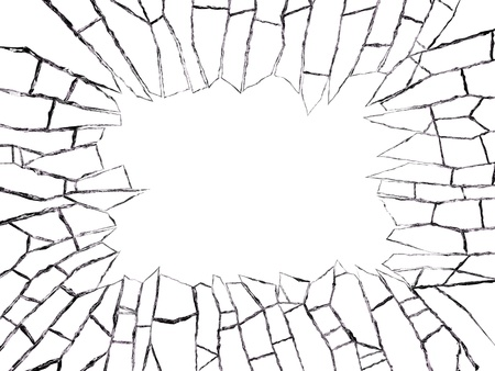 Close-up of the broken window isolated on white background.