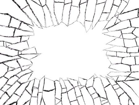 glass broken: Primer plano de la ventana rota aislada sobre fondo blanco. Foto de archivo