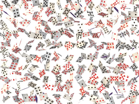 Background of falling cards on white. Stock Photo
