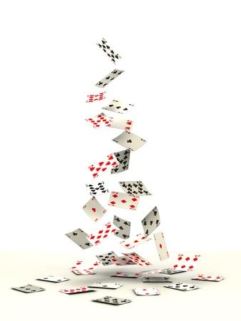 흰색 배경에 떨어지는 카드 놀이