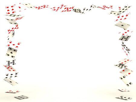 jeu de carte: Jeu de cartes qui tombaient sur fond blanc Banque d'images
