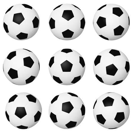 Different positions of soccer balls isolated on white background. photo