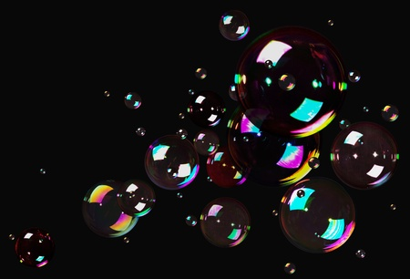 Natural Soap Bubbles isolated on black background
