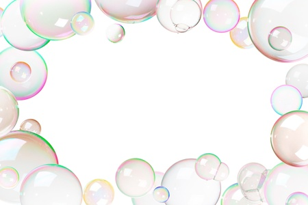 Colorful soap bubbles frame, white background