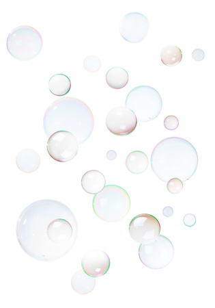 Background from natural soap bubbles, isolated on white. Stock Photo