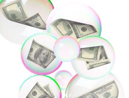 one dollar bill: Hundred dollar bills diving  into bubbles Stock Photo