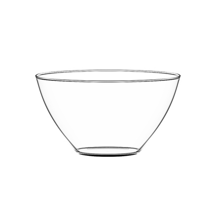 in bowl: Empty bowl glass isolated on white. Stock Photo