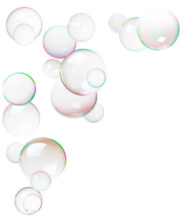 Few bubbles, made from soap, frame isolated on white