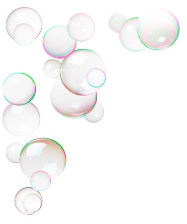jabon liquido: Pocas burbujas, de jab�n, marco aislado en blanco Foto de archivo