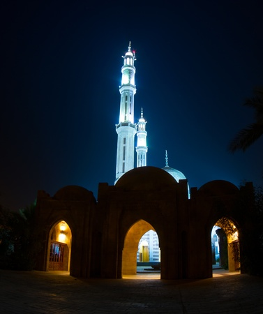 Mosque and two minarets at night, in Sharm el Sheik, Egypt.