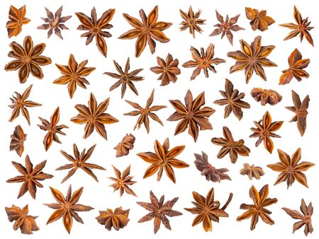 anise: Anise stars isolated on white background, easy to crop individual pieces and use as you like. Stock Photo