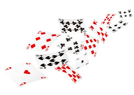 Playing cards falling on white background Stock Photo
